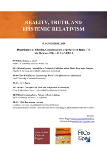 Reality, Truth, and Epistemic Relativism 13 nov Roma Tre